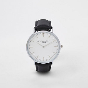 Black Mr Beaumont silver tone watch