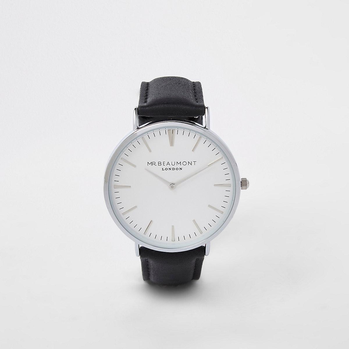 Black Mr Beaumont silver tone watch