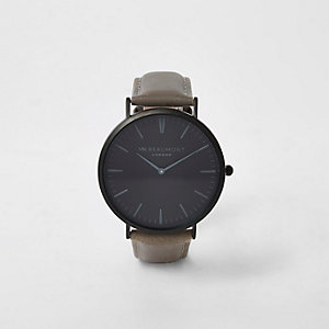 Grey Mr Beaumont leather strap watch
