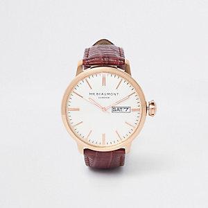 Mr Beaumont - Rood horloge met leren bandje