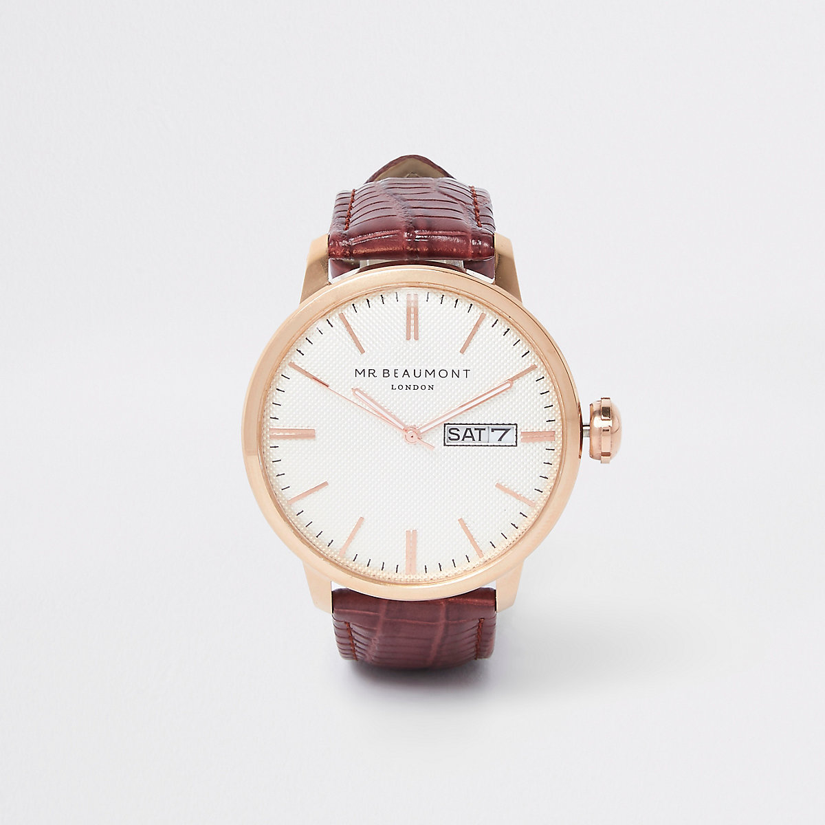 Red Mr Beaumont leather strap watch