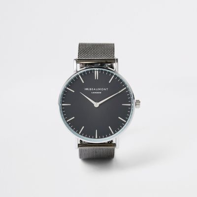 Black Gun Metal Mr Beaumont Watch by River Island