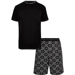 Set zwarte pyjamashorts met RI-print