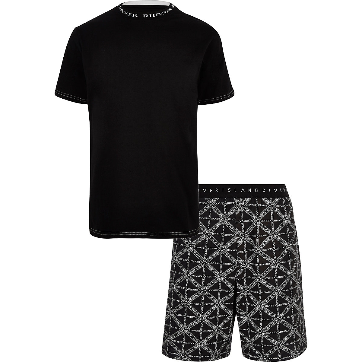 Black 'RI' print pyjama shorts set