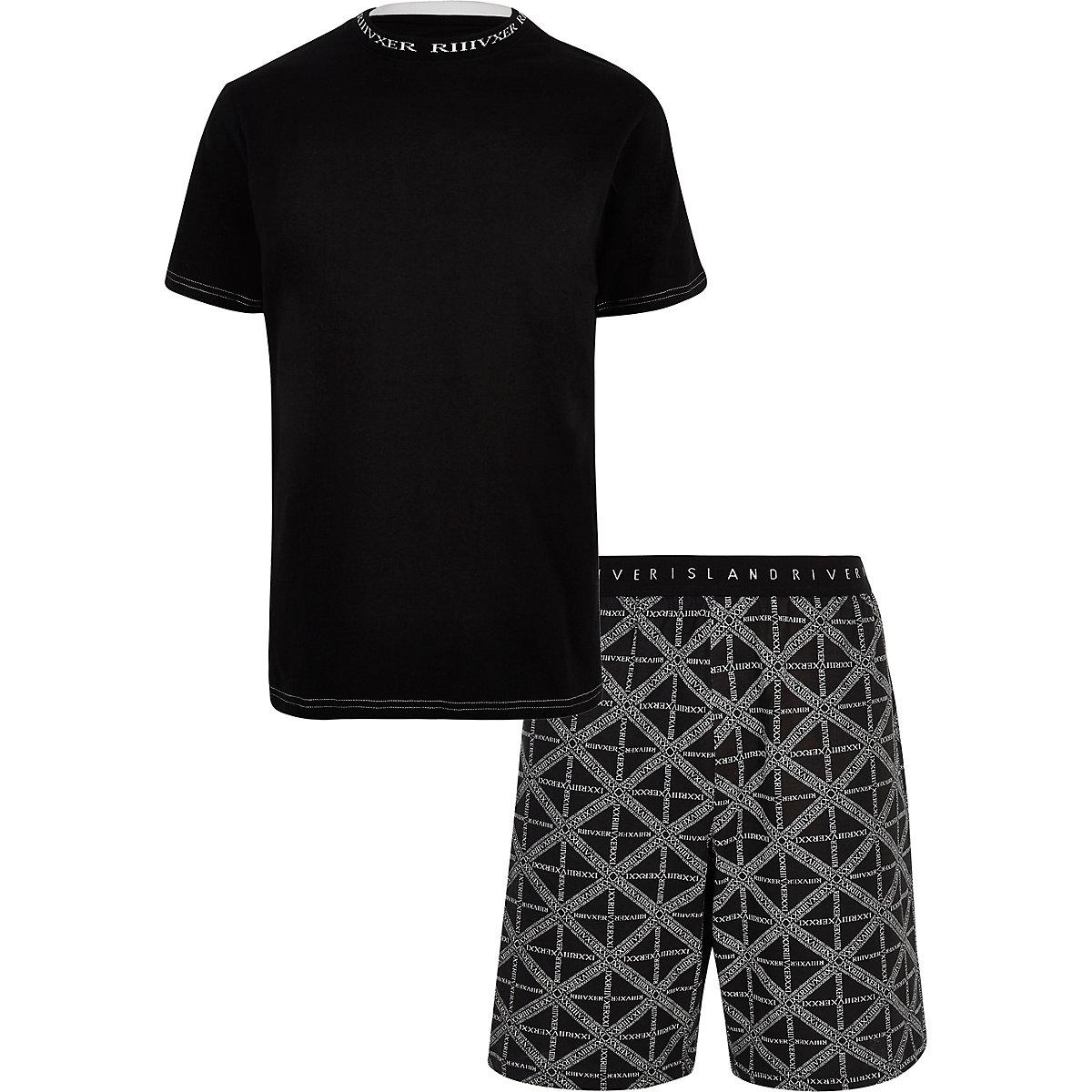 Black 'RI' print pajama shorts set