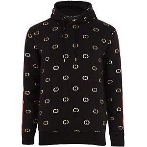 Criminal Damage black logo print hoodie