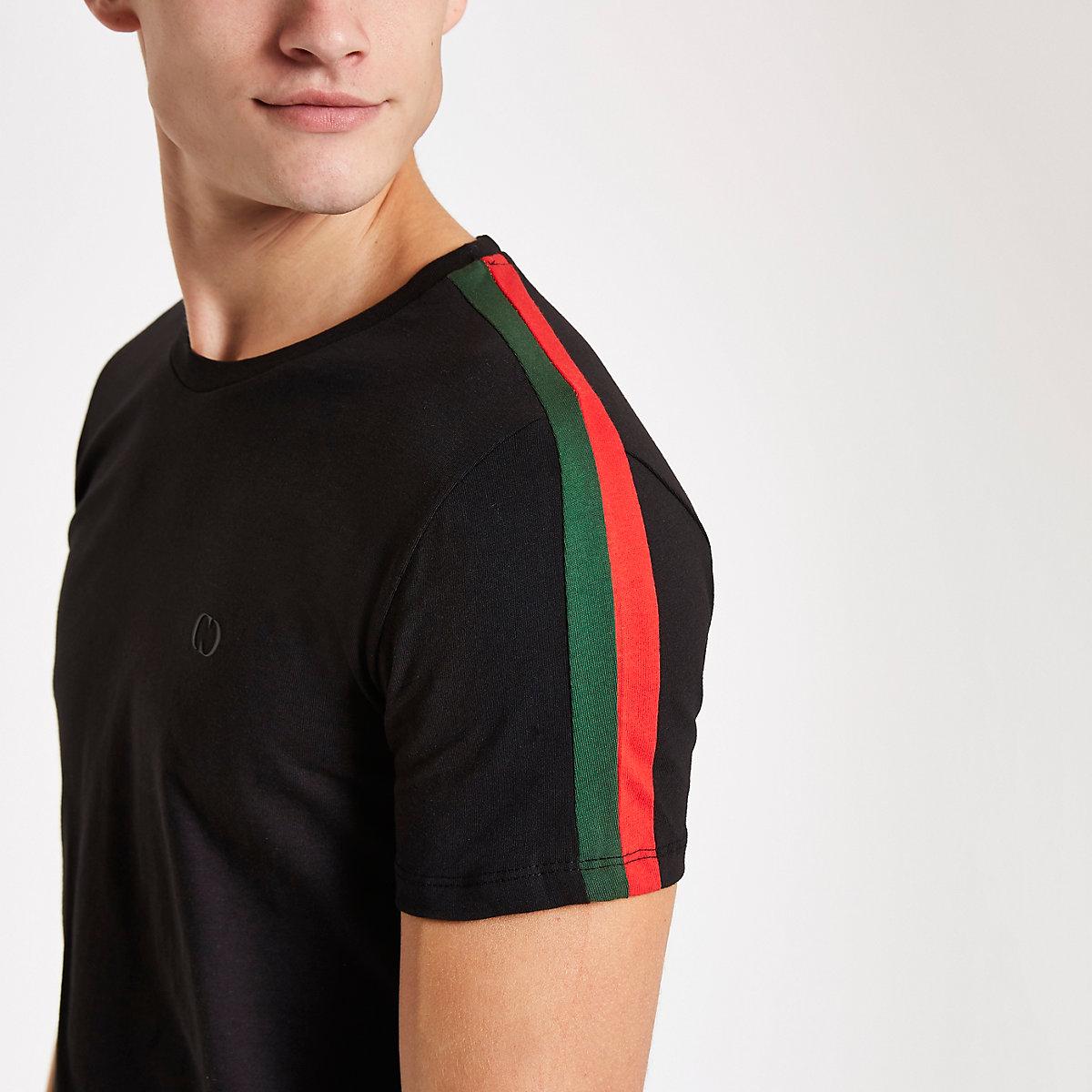 Criminal Damage black stripe side T-shirt