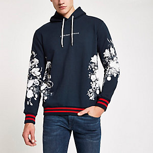 Criminal Damage navy floral print hoodie