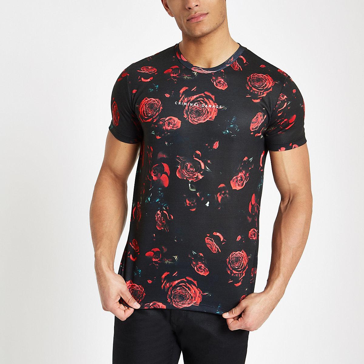 Criminal Damage black rose print T-shirt