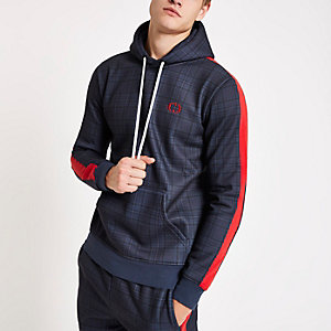 Criminal Damage navy plaid check hoodie