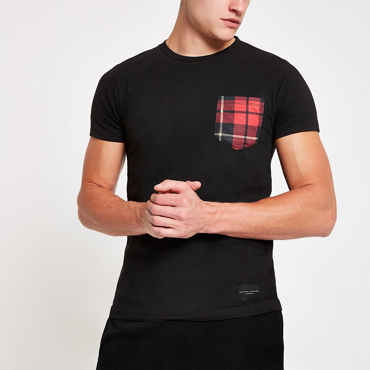 Criminal Damage black check pocket T-shirt