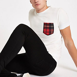 Criminal Damage white check pocket T-shirt