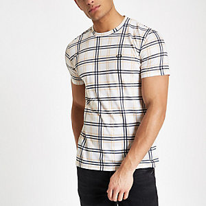 Criminal Damage white check T-shirt