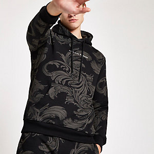 Criminal Damage black baroque print hoodie