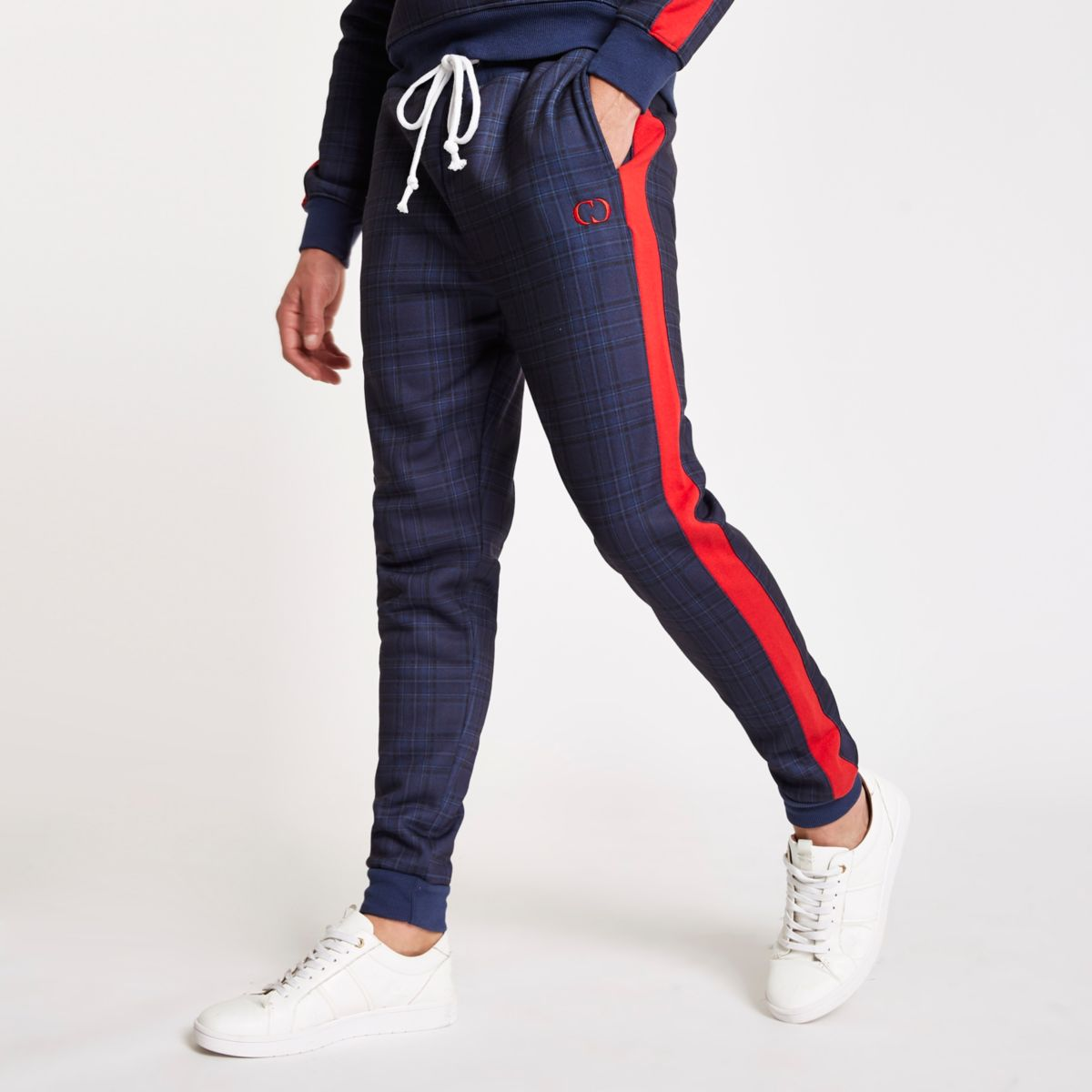 Criminal Damage navy tartan check joggers