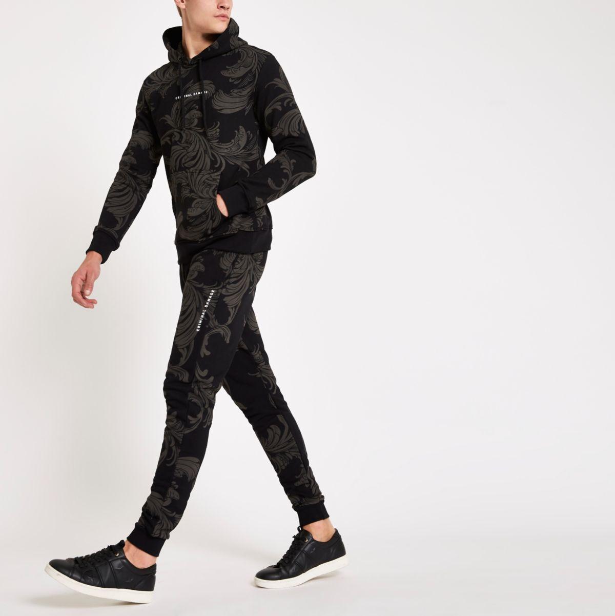 Criminal Damage black baroque print joggers