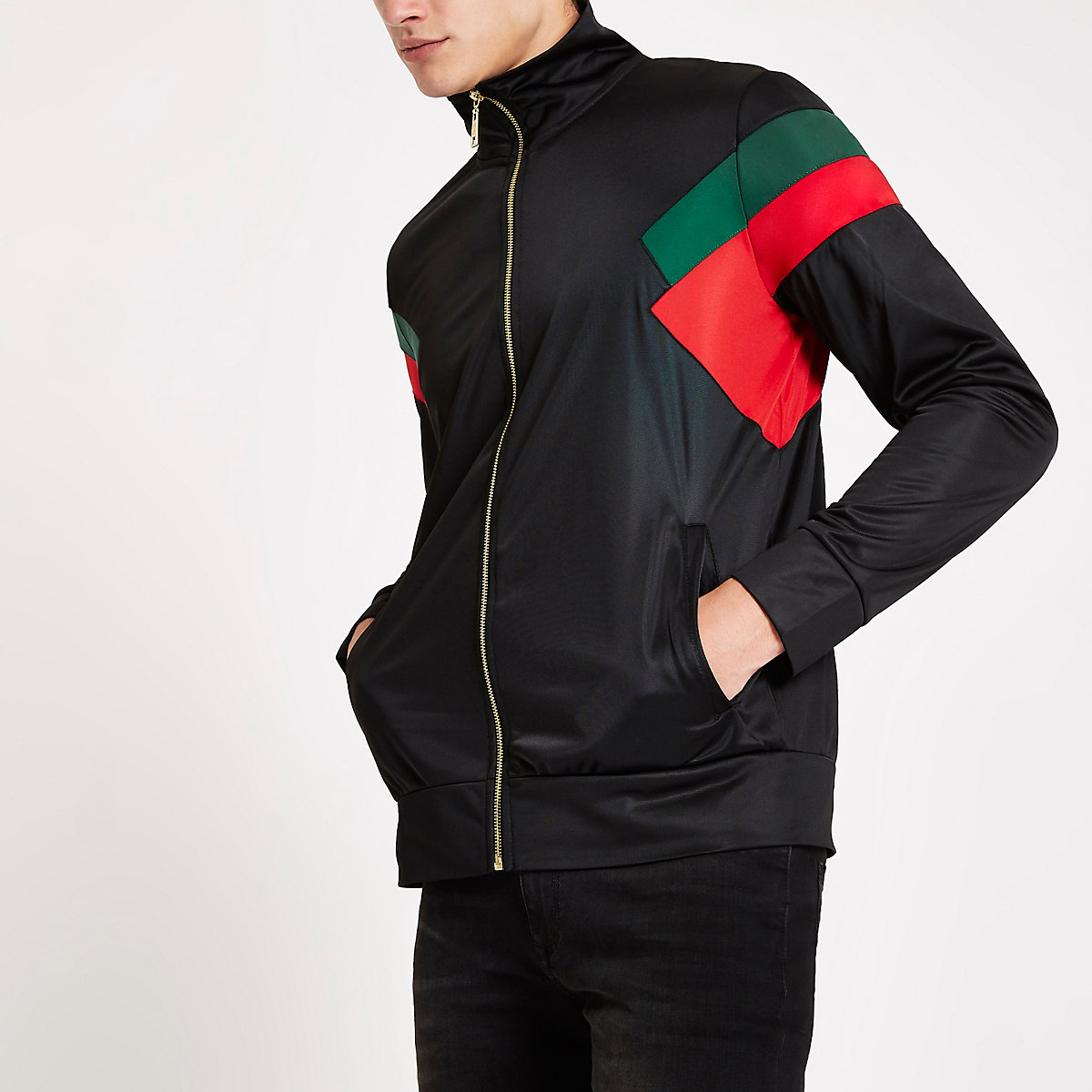 Criminal Damage black color block zip jacket