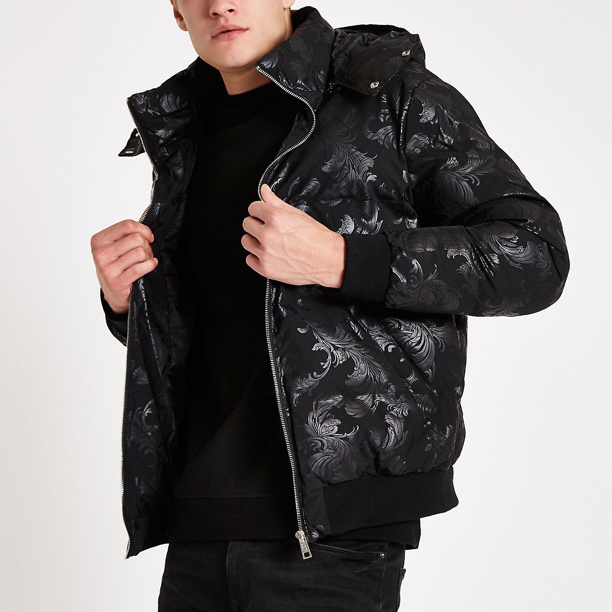 Criminal Damage black baroque puffer jacket