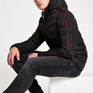 Criminal Damage black tape side puffer jacket