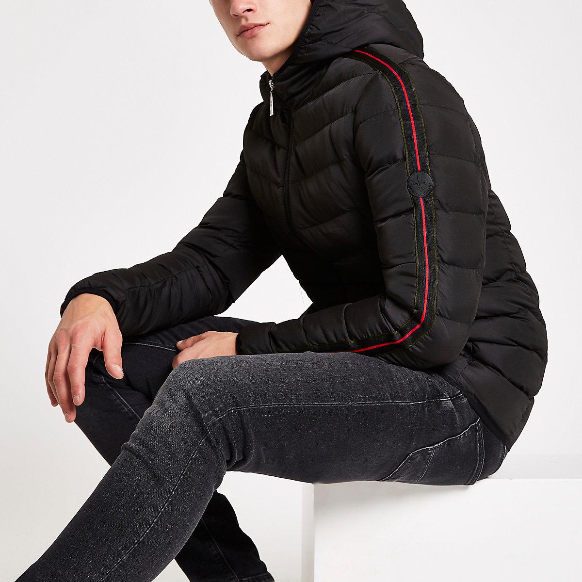 Criminal Damage black tape side puffer jacket