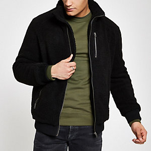 Only & Sons black fleece zip front jacket
