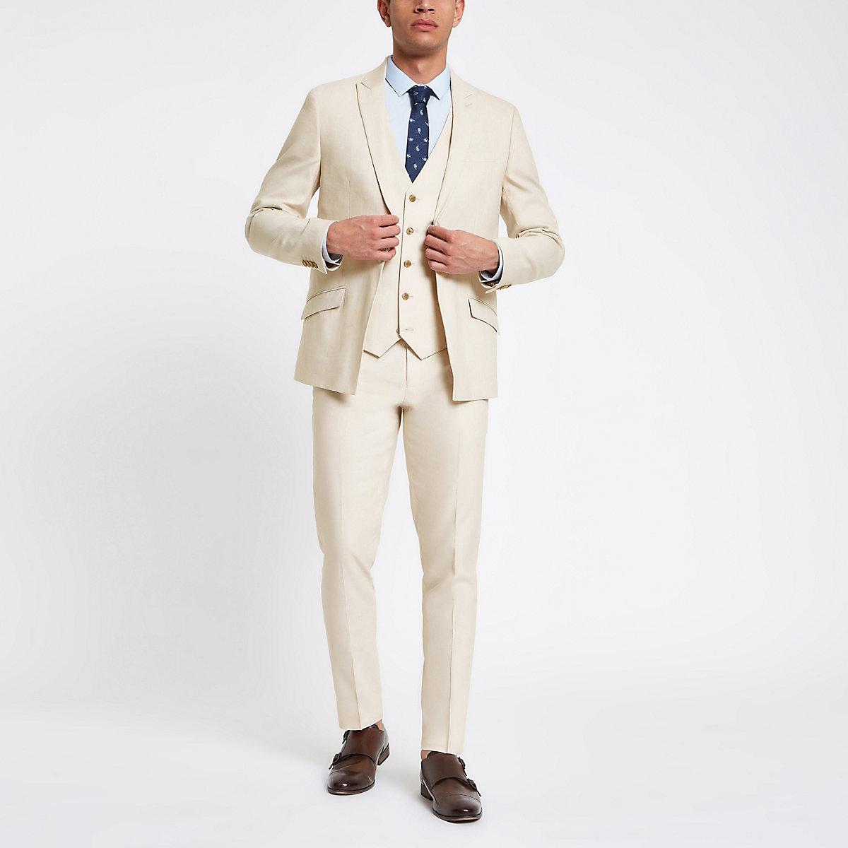 Ecru linen skinny suit trousers
