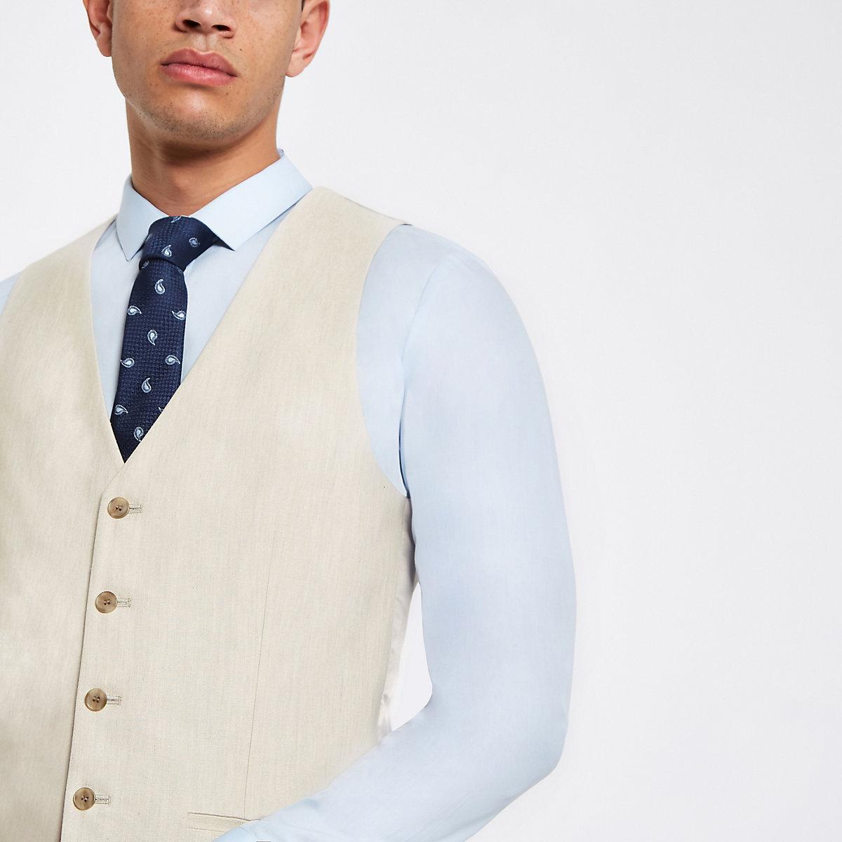 Ecru linen suit waistcoat