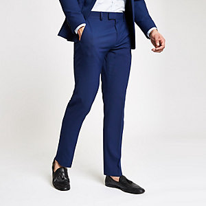 Blue stretch slim fit suit pants