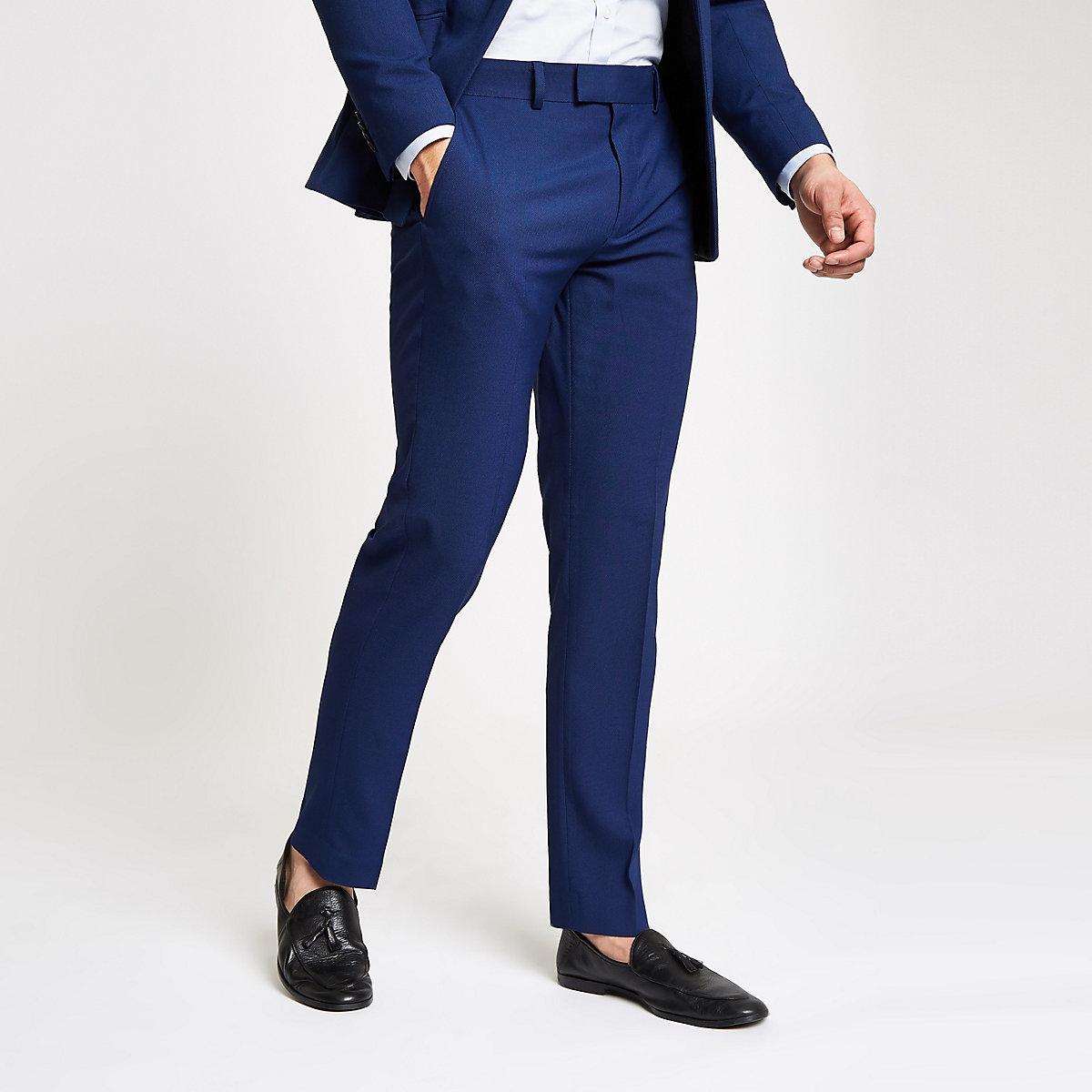 Blue stretch slim fit suit pants