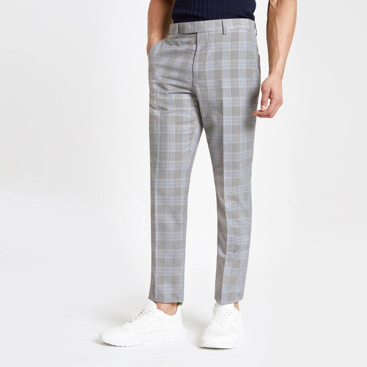 Grey check stretch slim fit suit trousers