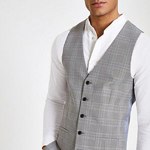 Grey check print suit vest