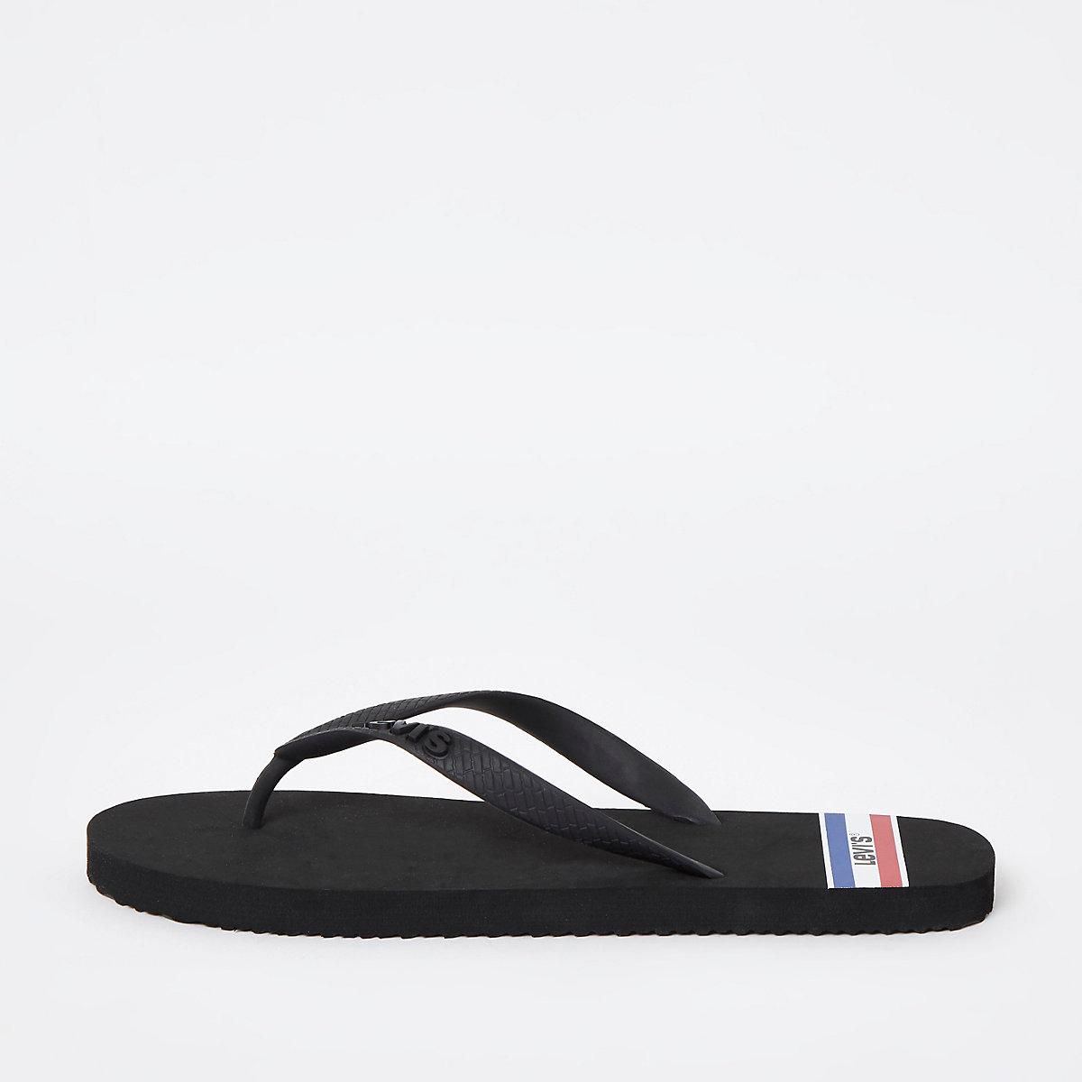 Levi's black sports flip flops