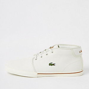Lacoste white leather trainers
