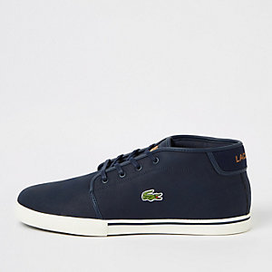 Lacoste navy leather trainers
