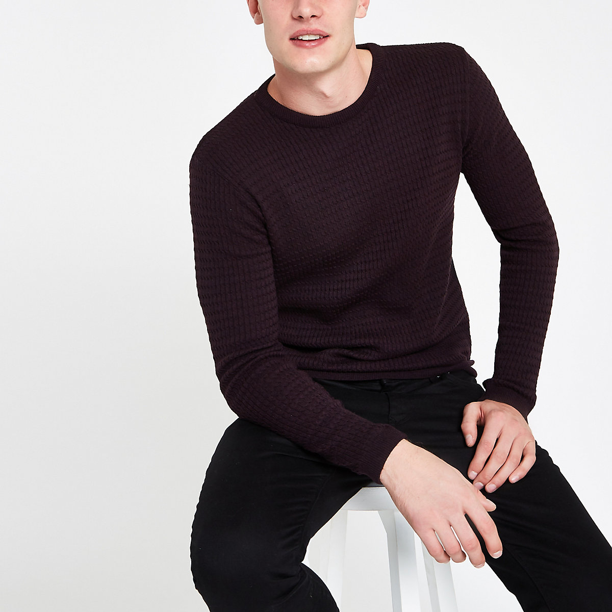 Dark purple cable knit muscle fit sweater