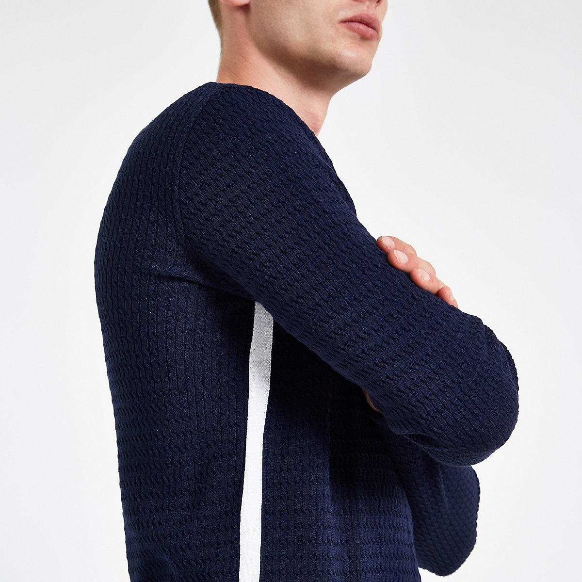 7caa3a0eb91c Navy cable knit muscle fit jumper - Jumpers - Jumpers   Cardigans - men