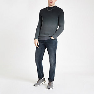 Grauer Slim Fit Strickpullover