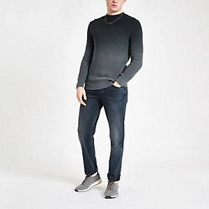 Grijze ombre slim-fit gebreide pullover