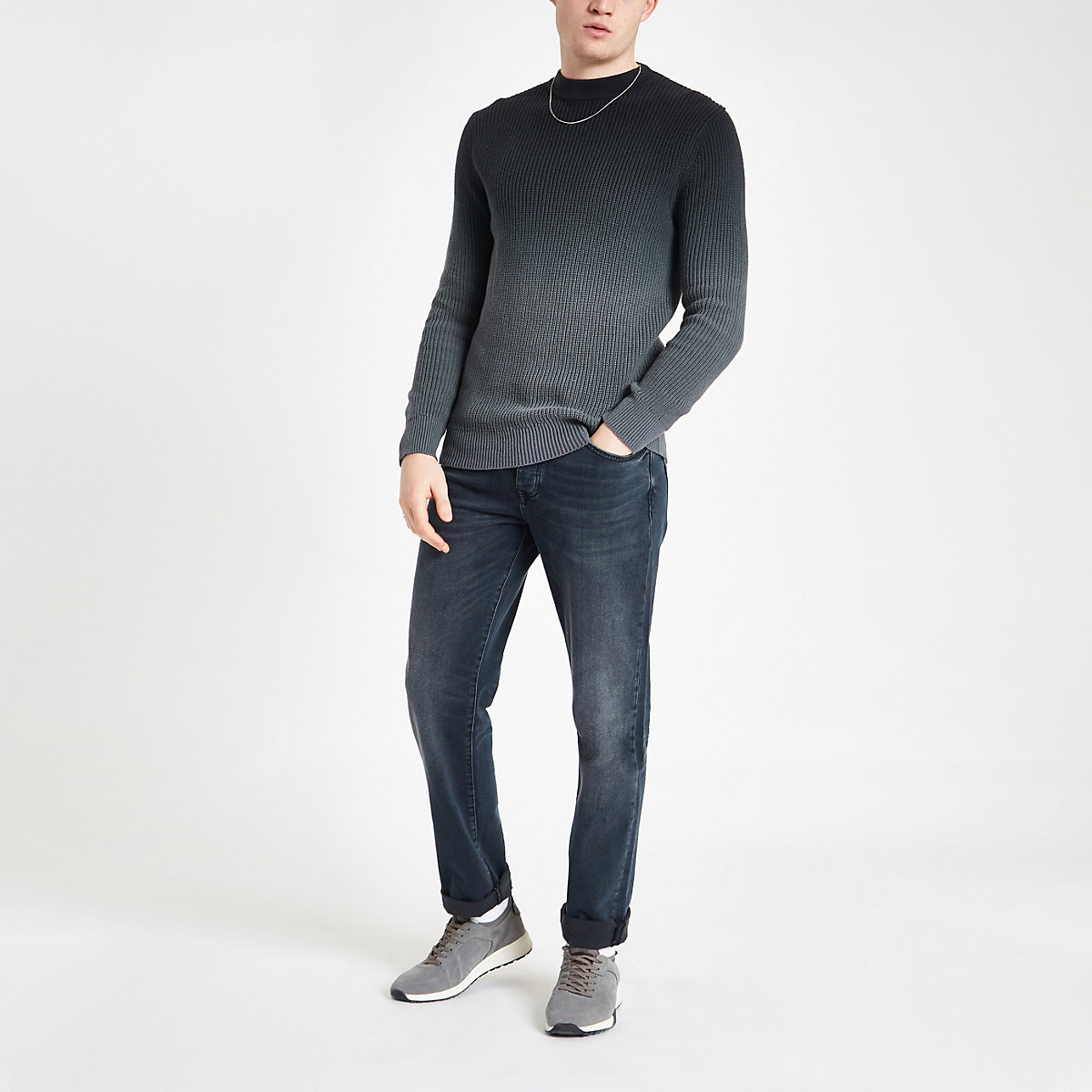 Grey ombre slim fit knit sweater