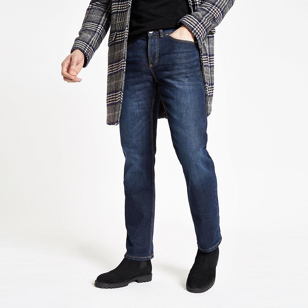 Jean droit bleu foncé