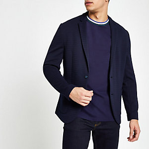 Navy crochet skinny fit blazer