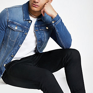 Blaue Muscle Fit Jeansjacke