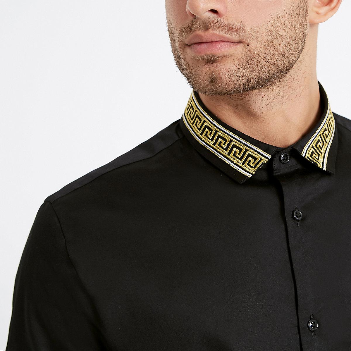 Black Gold Embroidered Collar Shirt Short Sleeve Shirts Shirts Men