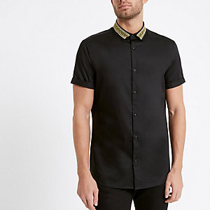 Black gold embroidered collar shirt