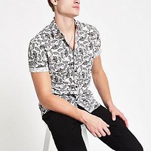 Grijs overhemd met paisleyprint en korte mouwen