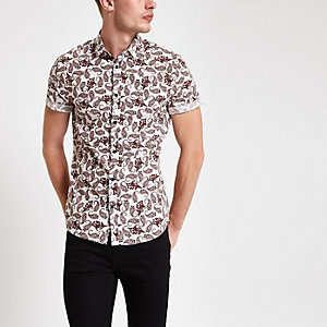 Burgundy paisley print short sleeve shirt