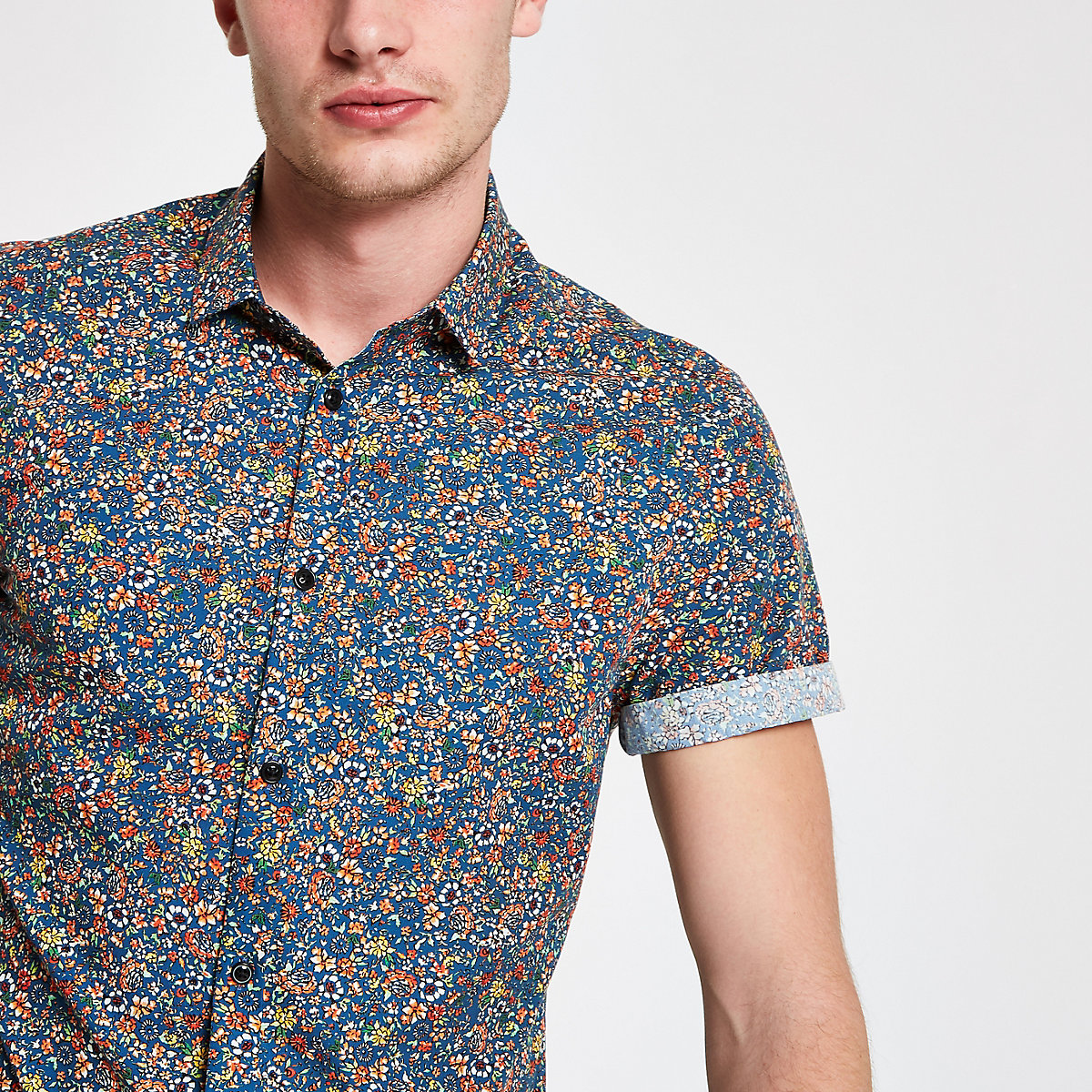 Blue ditsy print short sleeve shirt