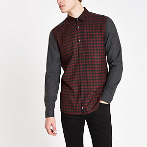 Dark red check contrast shirt