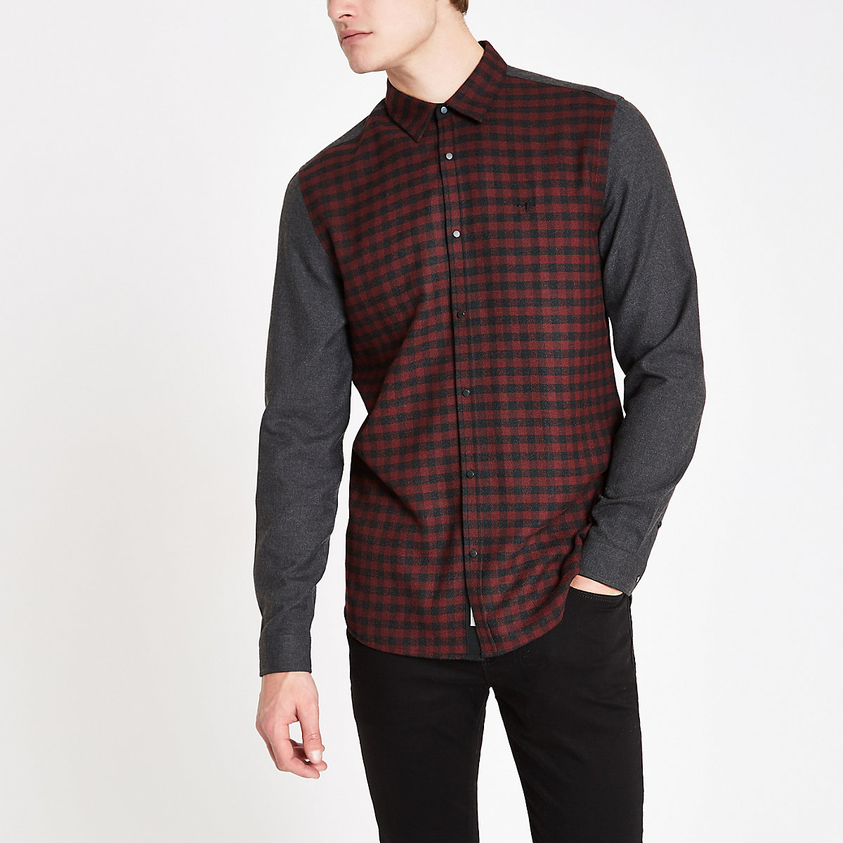Dark red check contrast shirt