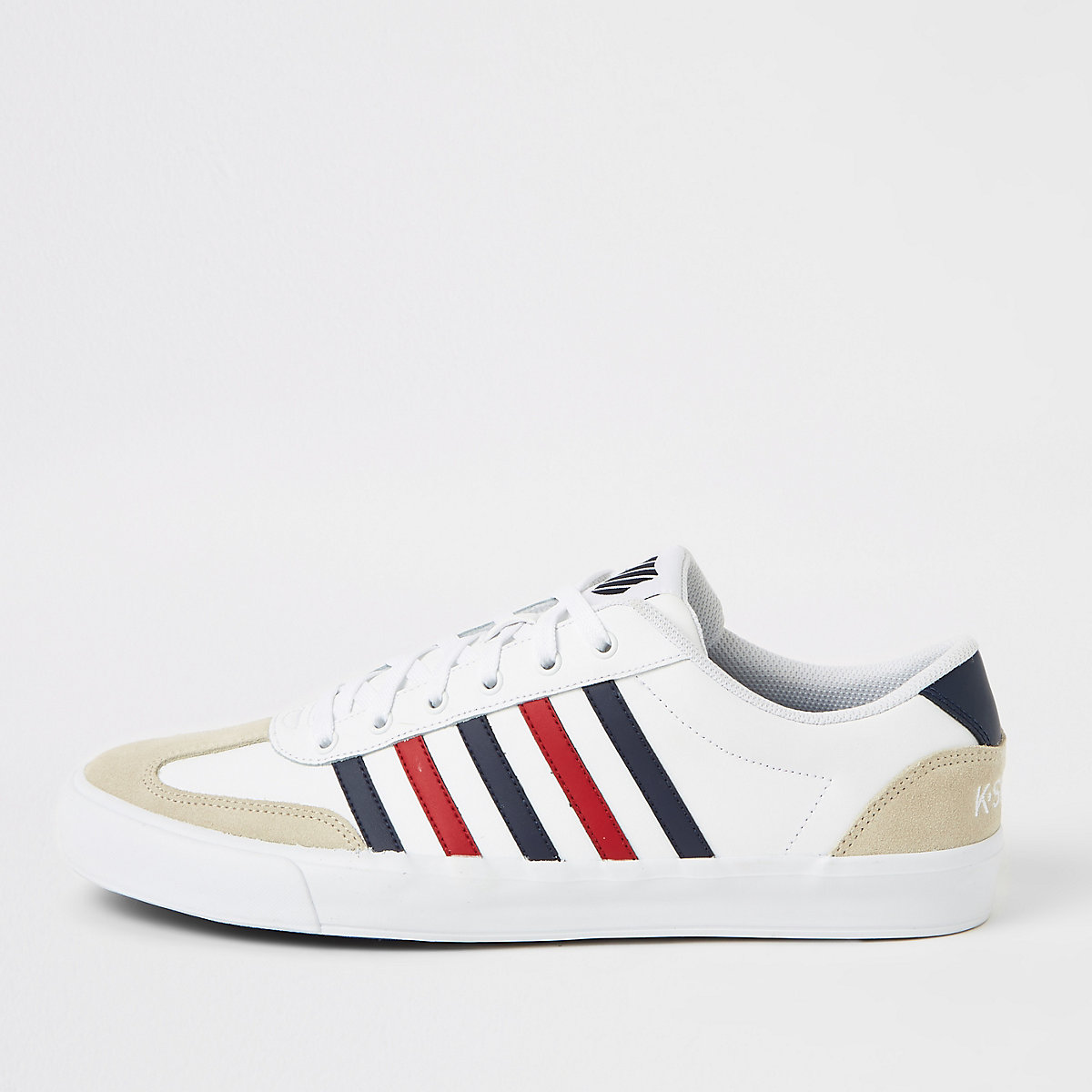 K-Swiss white leather stripe addison trainers